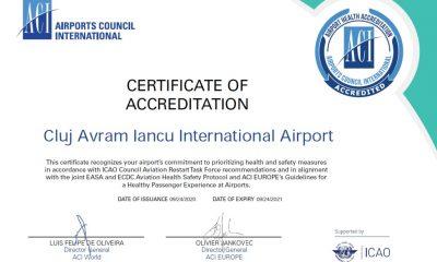 """Certificat de """"sănătate"""" pentru Aeroportul Cluj"""
