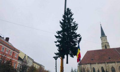 Clujul se pregătește de Crăciun! S-a montat bradul în Piața Unirii