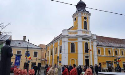 Moment omagial de Ziua Națională la statuia din Cluj a lui Iuliu Hossu