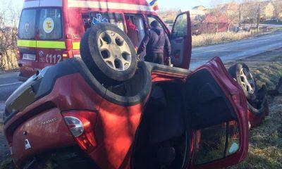 Maşină răsturnată în Mociu