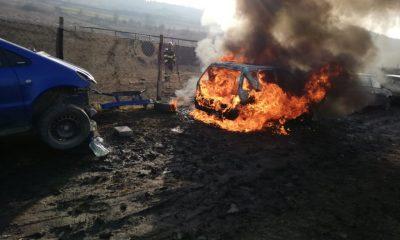 O mașină a ars ca o torță în Florești! De la ce a pornit focul