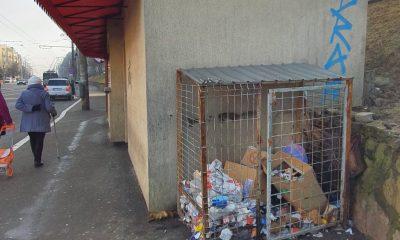 Şobolani într-o staţie de autobuz din Cluj-Napoca. În apropiere, gunoaie neridicate de săptămâni