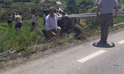 Accident grav în Sânpaul. O mașină s-a răsturnat și a ajuns cu roțile în sus