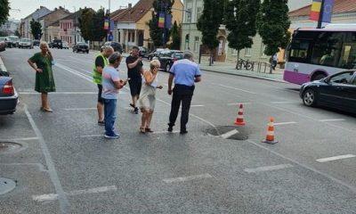 Crater în asfalt la Primărie. Cine e de vină? Boc și metroul