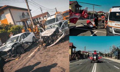 Un elicopter SMURD a intervenit după ce două maşini s-au izbit frontal. Sunt 7 victime, printre care și un copil