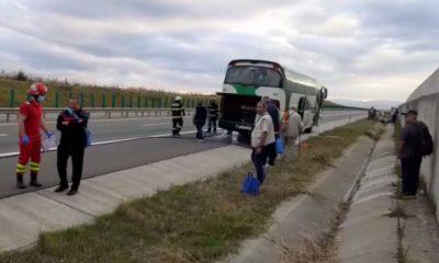 Un autocar cu 35 de pasageri A LUAT FOC pe autostrada A3, sensul de mers Turda-Gilău