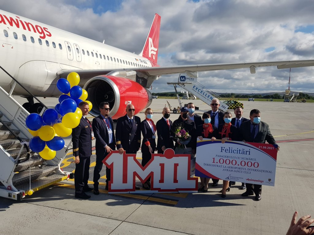 Aeroportul Internaţional Cluj a sărbătorit pasagerul cu numărul 1 milion în 2021! Este pentru a zecea oară în istorie