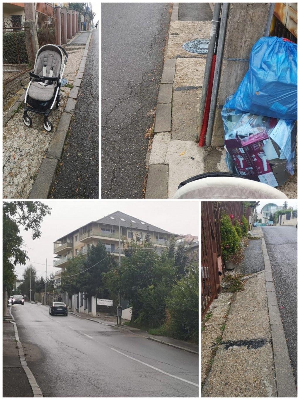 """Trotuarele din Cluj, groaza părinţilor cu cărucioare: """"abia 50 cm, stâlpi în mijloc, gropi, trepte"""""""